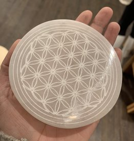 Pelham Grayson Selenite Flower of Life Etched Plate 4""