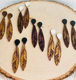 Firelight Wooden Feather Earrings (Two-tone)