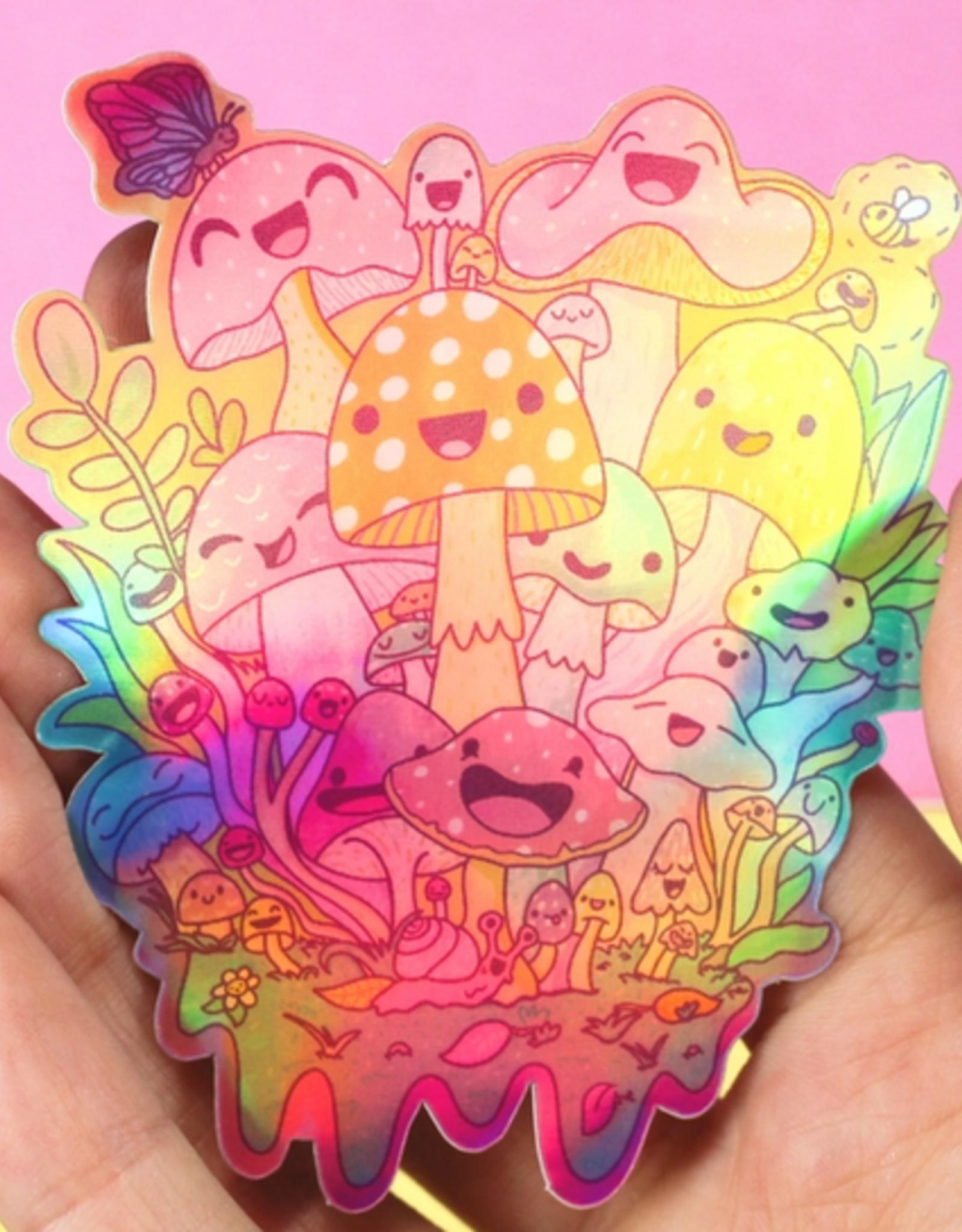 Turtle's Soup Happy Mushroom Psychedelic Vinyl Sticker (Holographic)