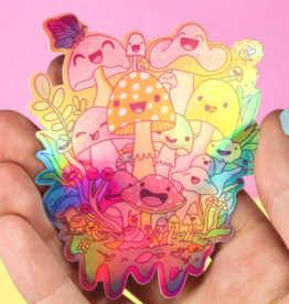 Turtle's Soup Happy Mushroom Psychedelic Vinyl Sticker (Holographic)