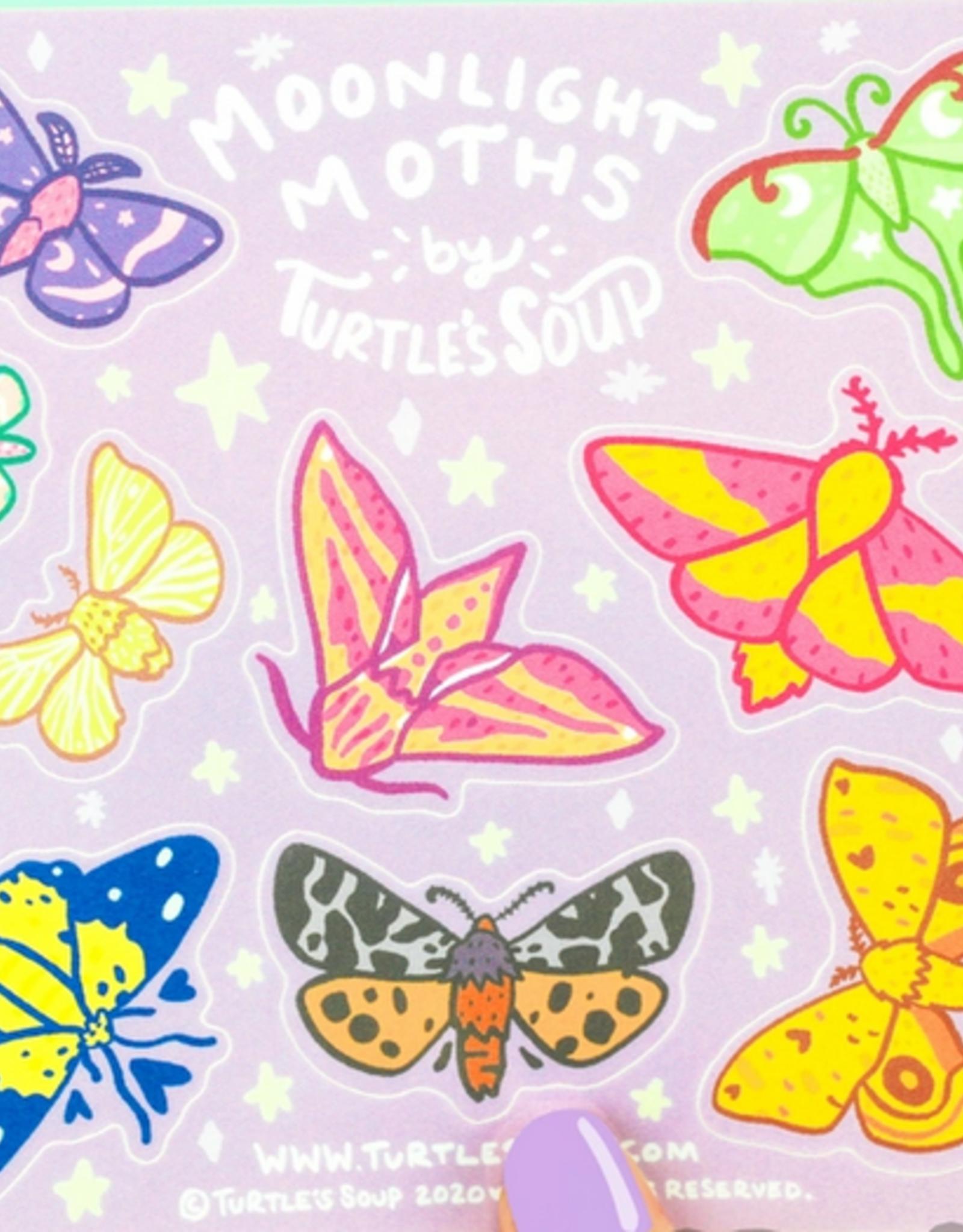 Turtle's Soup Moonlight Moths Vinyl Sticker Sheet