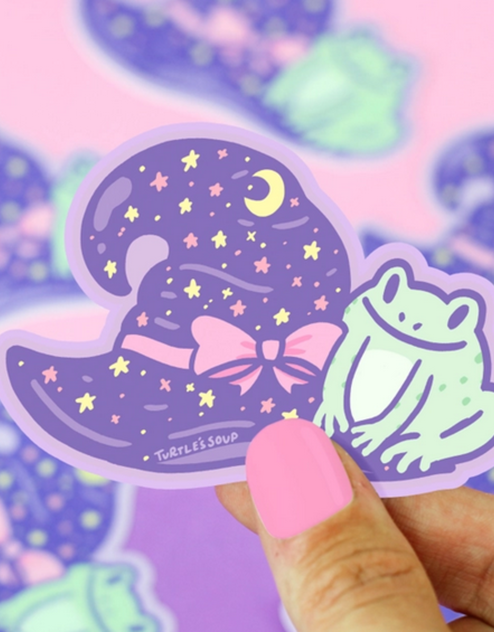 Turtle's Soup Witchy Frog Hat Halloween Vinyl Sticker