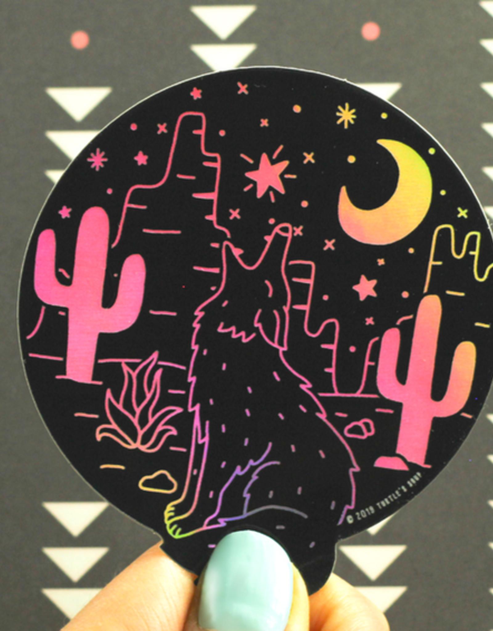 Turtle's Soup Desert Coyote Vinyl Sticker (Holographic)