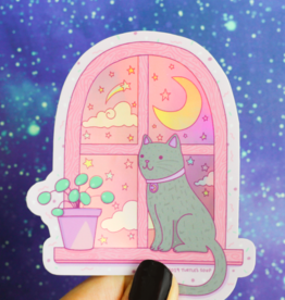 Turtle's Soup Magical Cat Moonlight Vinyl Sticker (Holographic)