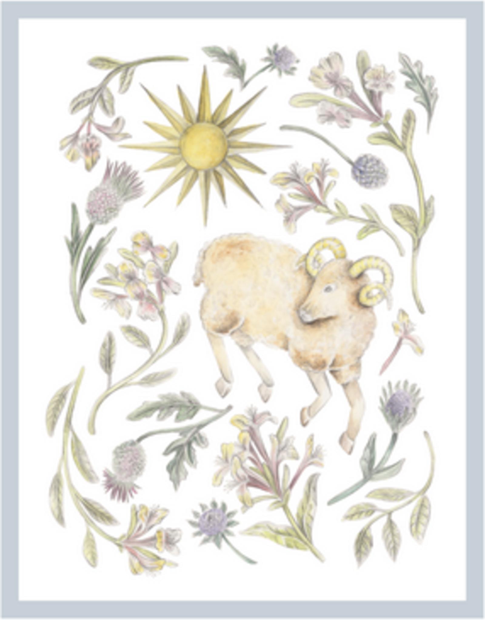 "Erica Catherine Illustration Aries Zodiac Sign Illustration Art Print: 8 x 10"""