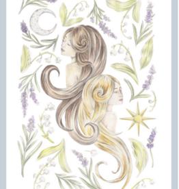 "Erica Catherine Illustration Gemini Zodiac Sign Illustration Art Print: 8 x 10"""