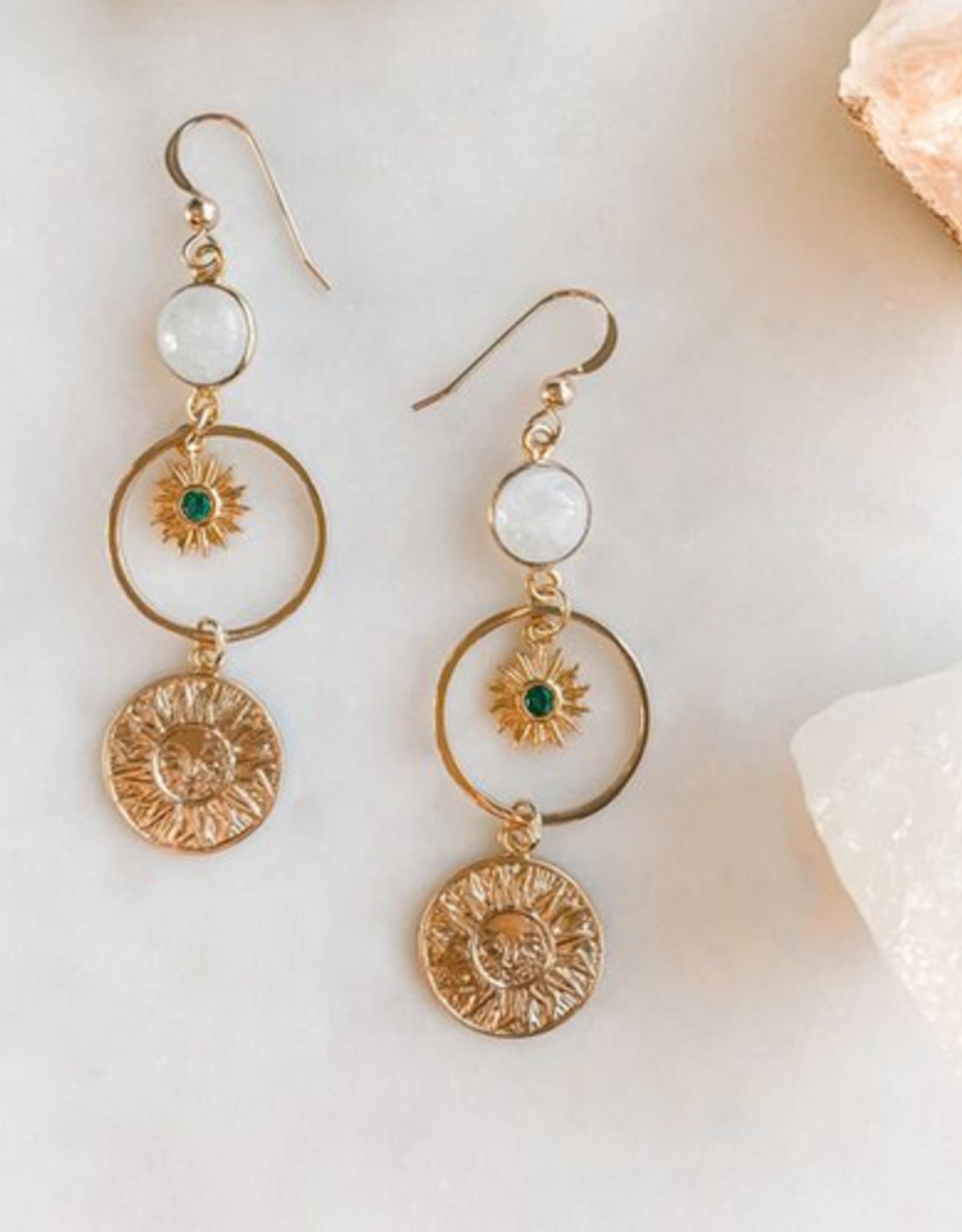 Pretty Eclectic Emerald Sun Earrings