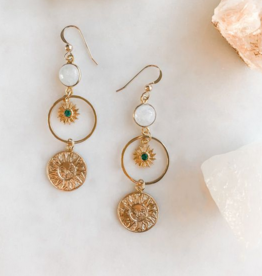 Pretty Eclectic Emerald Sun Earrings