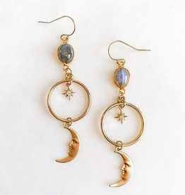 Pretty Eclectic Midnight Moon - Labradorite Earrings