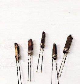 Pretty Eclectic Bronze Quartz Pins