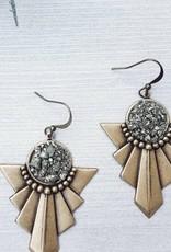 Dynamo Boho Chic Brass Pyrite Earrings