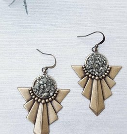 Dynamo Boho Chic Brass Pyrite Earrings