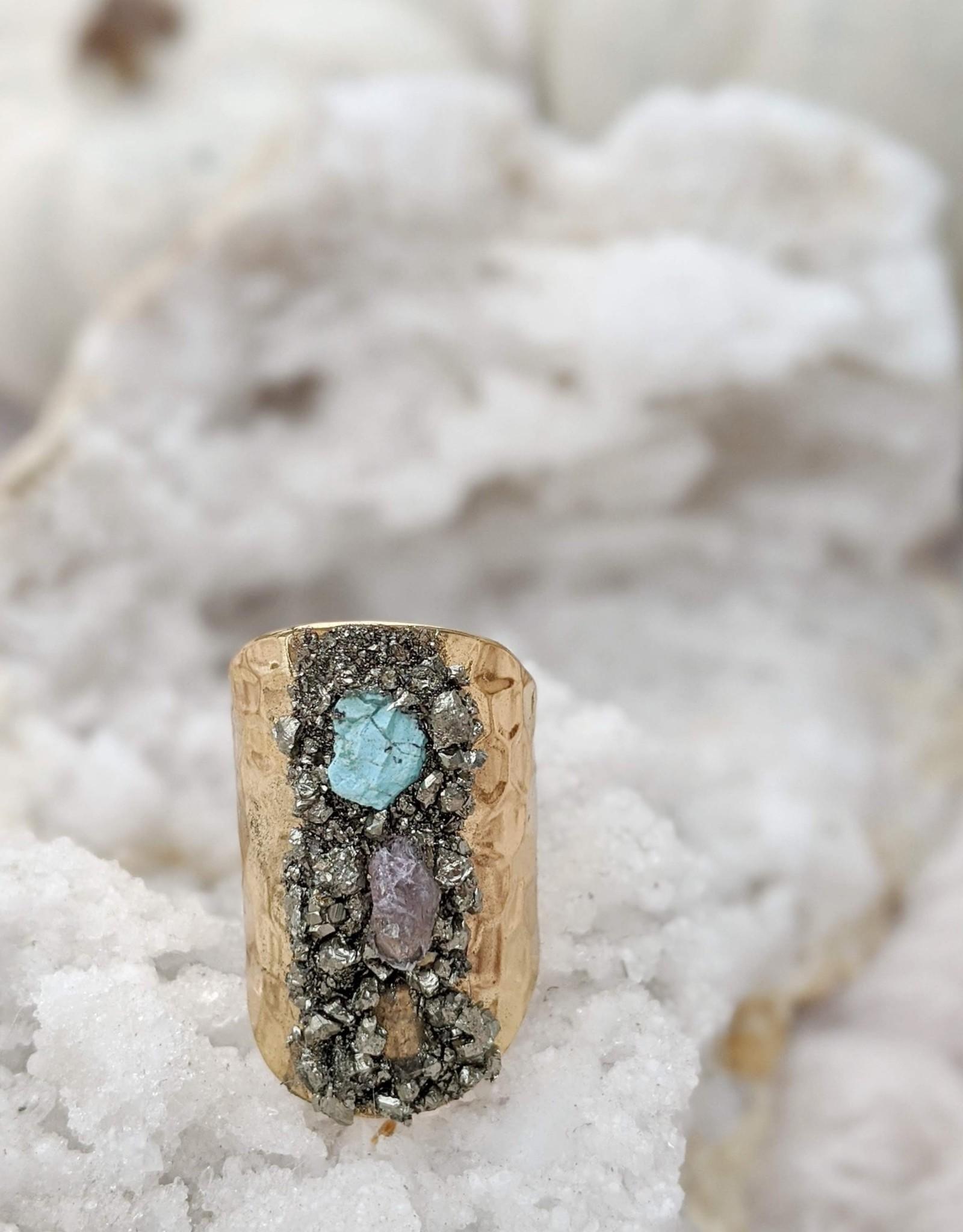 Dynamo Boho Raw Stone Gold Plated Adjustable Ring*