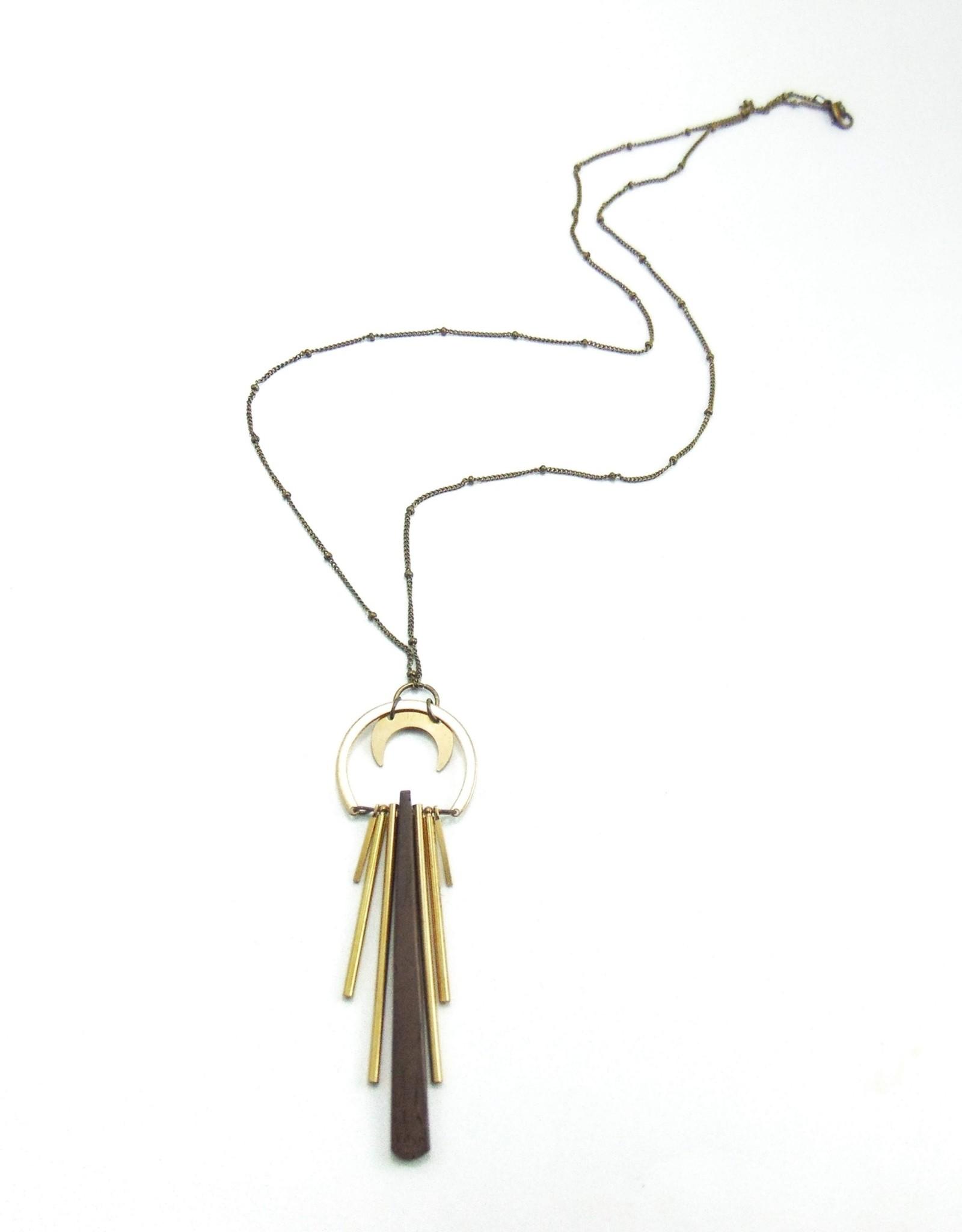 Dynamo Boho Wood Necklace Geometric Wood Necklace