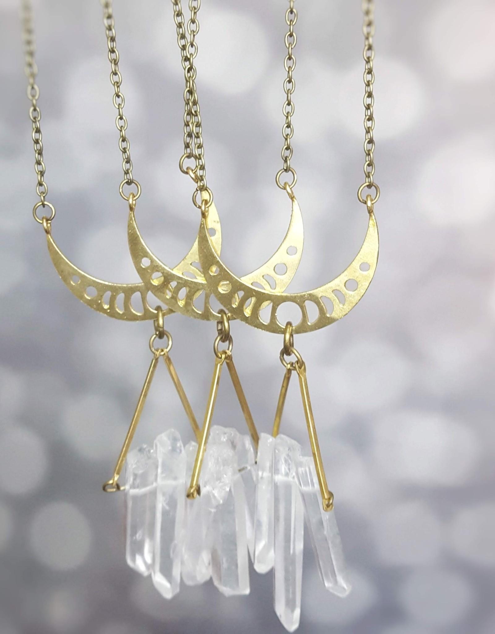 Dynamo *Clear Quartz Crystal Necklace Moon Modern Boho Necklac