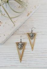 Dynamo Geometric Triangle Earrings  Brass
