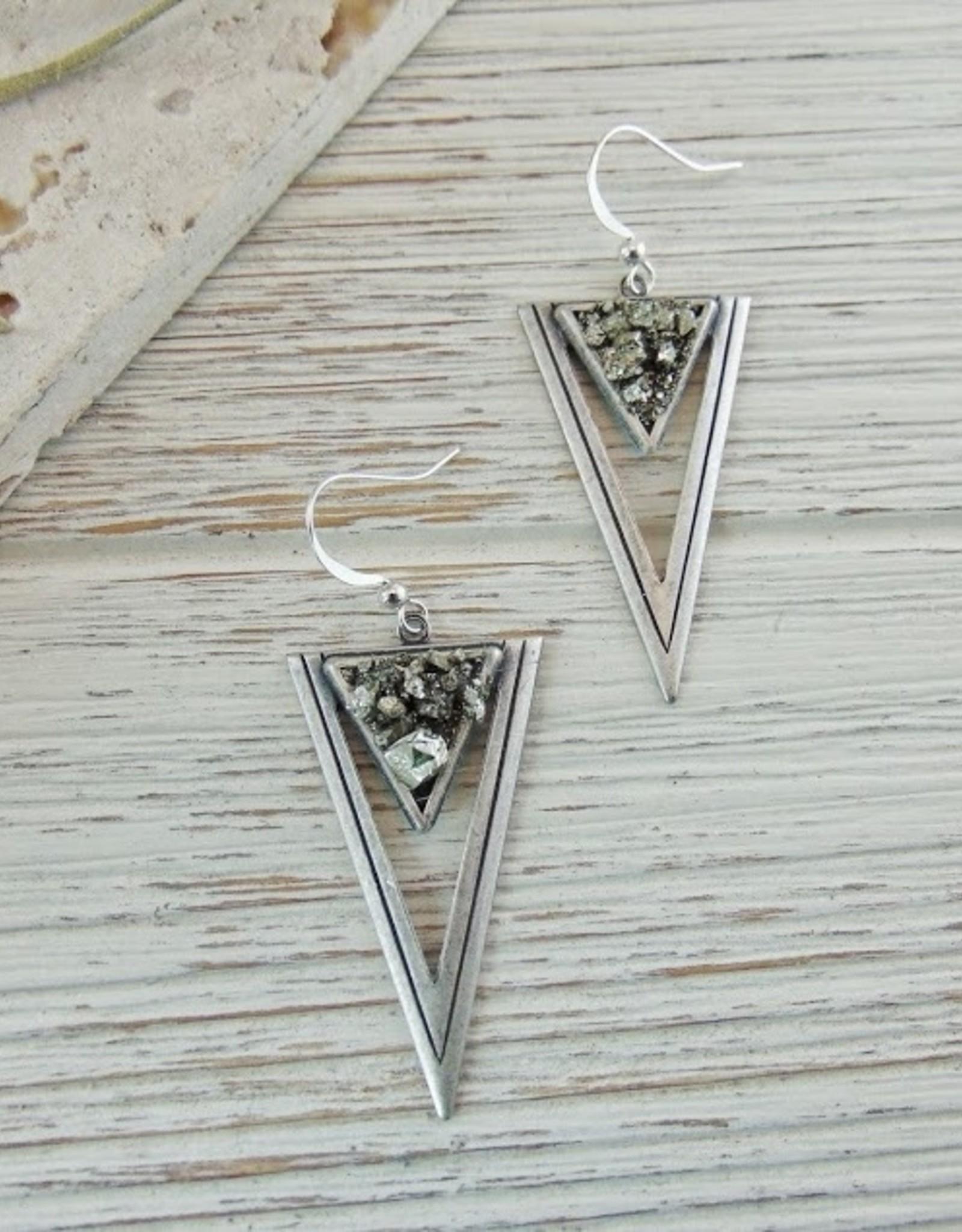 Dynamo Geometric Triangle Earrings  Silver