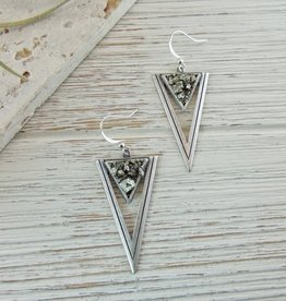 Dynamo Geometric Triangle Earrings  Silver