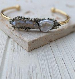 Dynamo Pearl Cuff Bracelet Gold Bracelet Cuff Raw Pyrite Bracelet