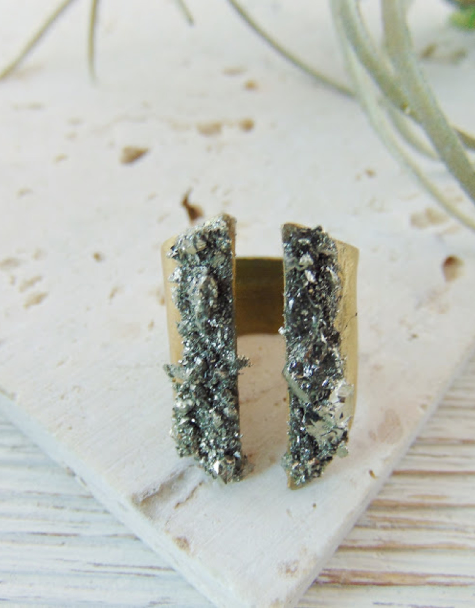 Dynamo Pyrite Mineral Ring