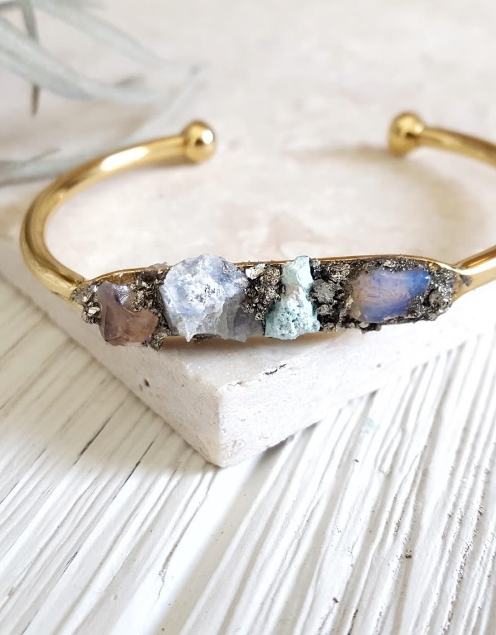 Dynamo Raw Stone Bracelet Boho Raw Bracelet Gold Cuff Bracelet