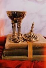 "New Age Imports, Inc. Solid Brass Pedestal Burner 8""H"