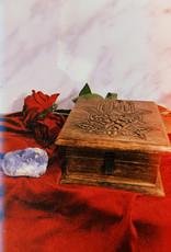 "New Age Imports, Inc. Lotus Hamsa Hand Carved Wood Box 6x6"""