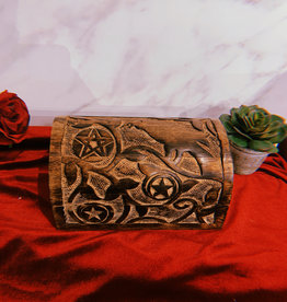 """New Age Imports, Inc. Raven & Pentagram Carved Round Top Wood Box 8""""L x 5"""" W x 4.5""""H"""