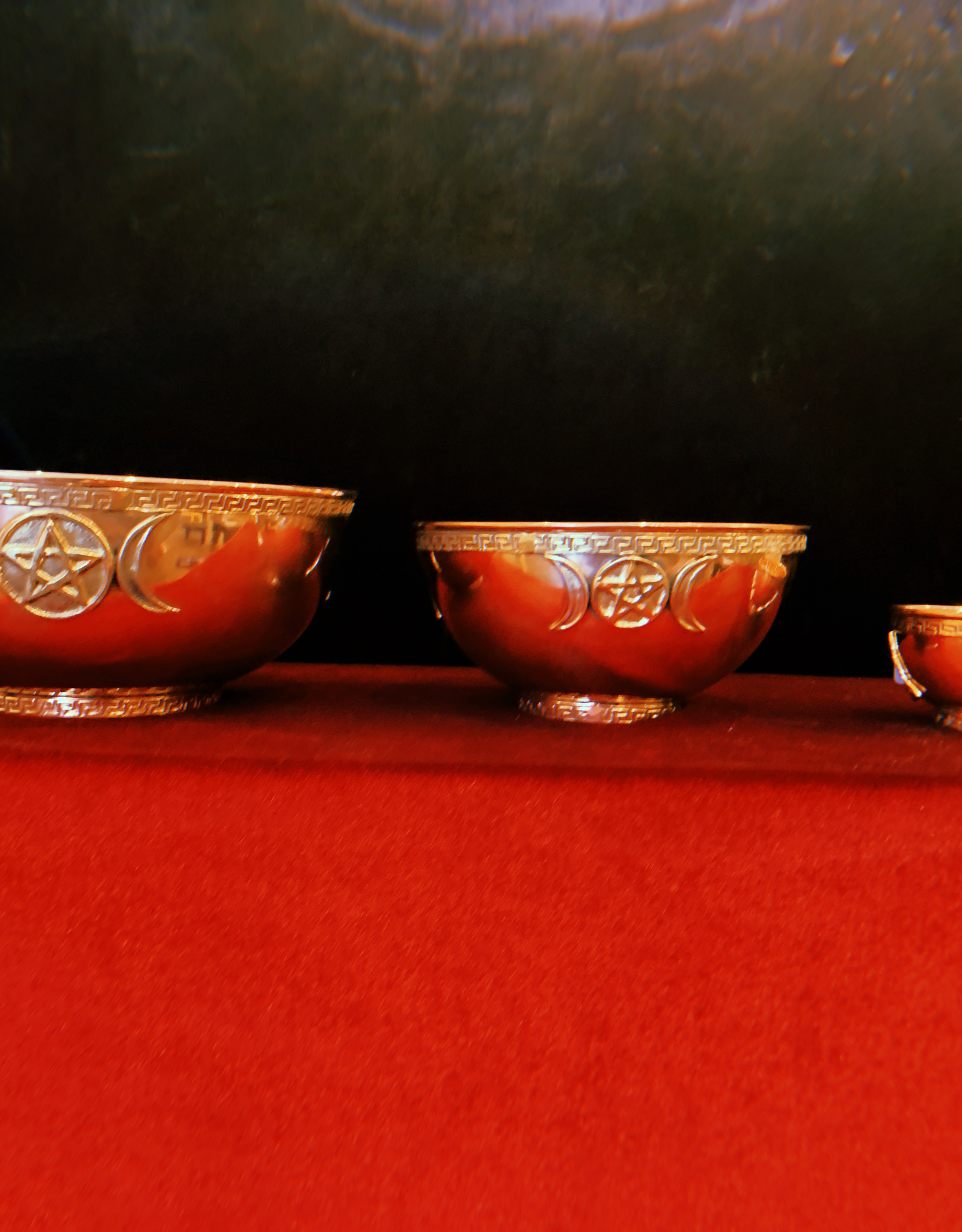"New Age Imports, Inc. 8"" Triple Moon Pentagram Copper Bowl"