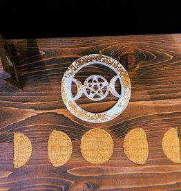 New Age Imports, Inc. Triple Moon Pentagram Metal Altar Tile