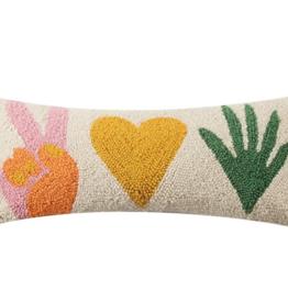 Peking Handicraft Peace Love Plants With Tassles Hook Pillow