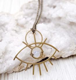 Dynamo Boho Moonstone Necklace Evil Eye