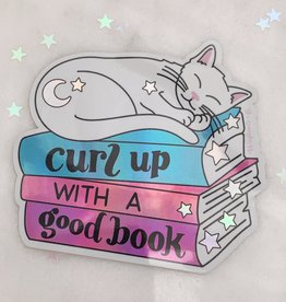 Wildflower + Co Curl Up with a Good Book Cat Sticker - Holographic