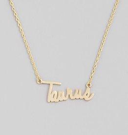 Fame Accessories Handwritten Zodiac Necklace - Taurus