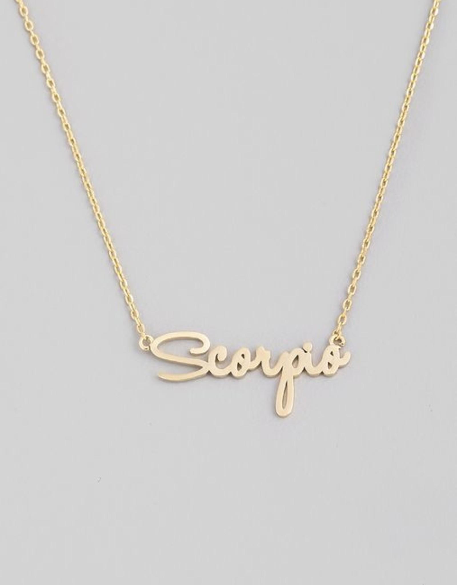 Fame Accessories Handwritten Zodiac Necklace - Scorpio