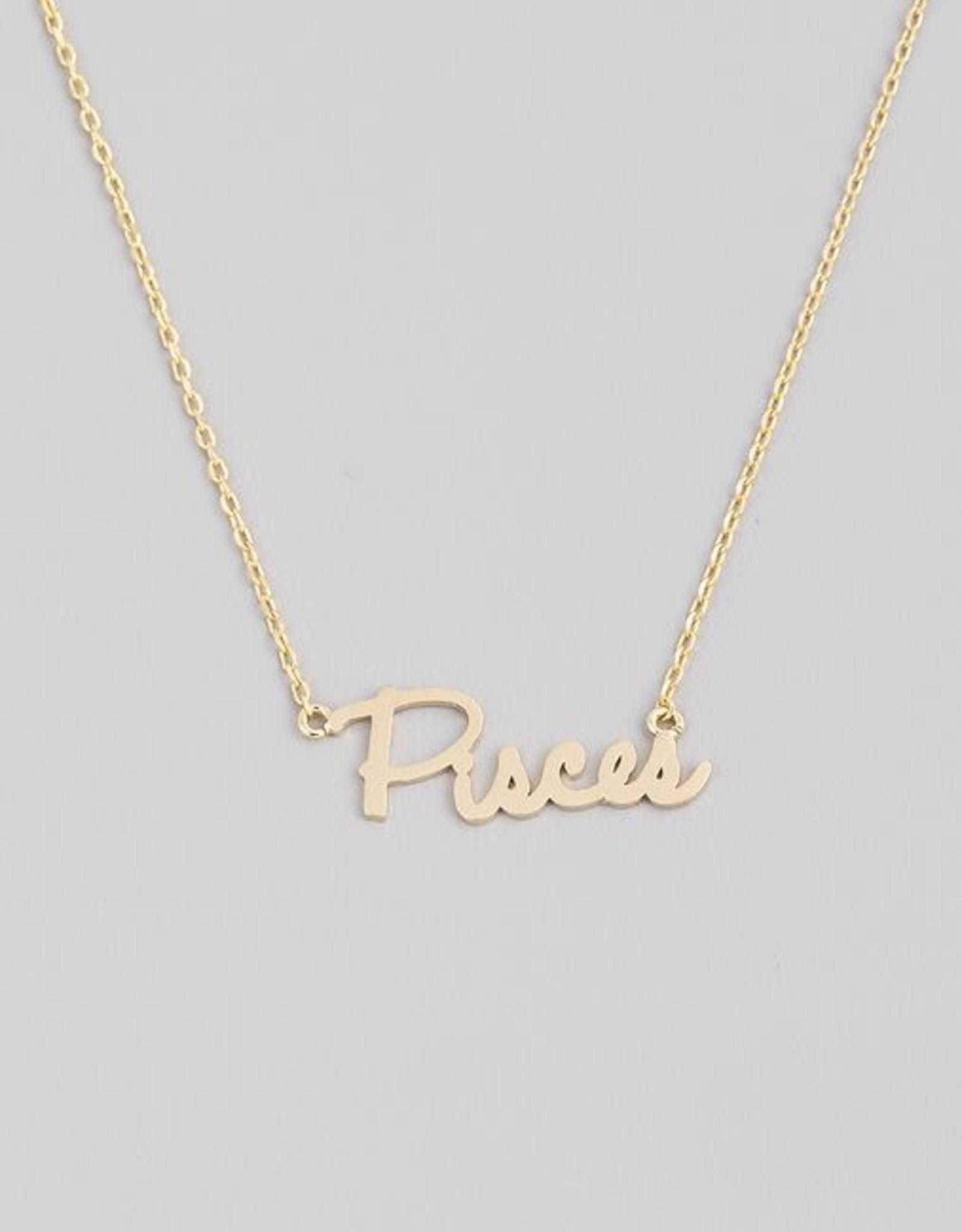 Fame Accessories Handwritten Zodiac Necklace - Pisces