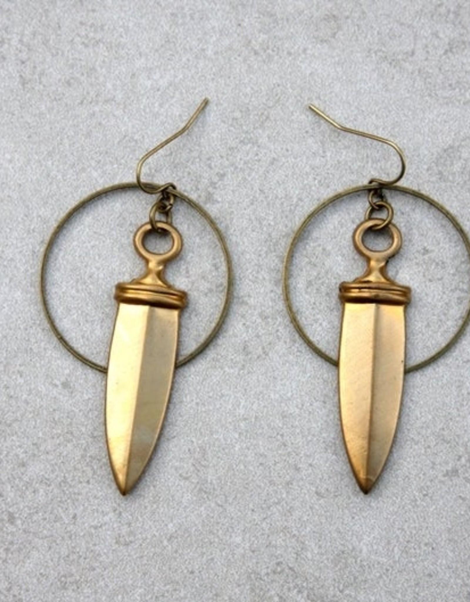 daniAWESOME Brass Dagger Hoop Earrings
