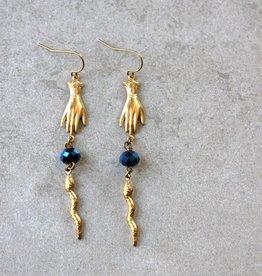 daniAWESOME Brass Snake Charmer Earrings