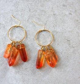 daniAWESOME Elemental Quartz Cluster Earrings - Fire