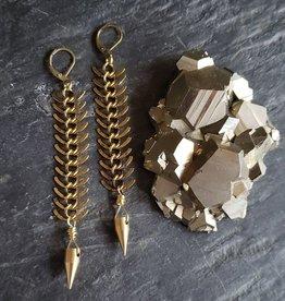 Verdilune Brass Spike Pendulum Earrings