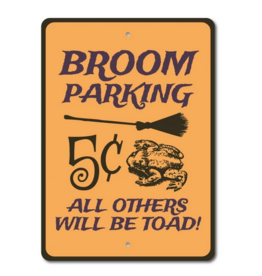 Lizton Sign Shop Broom Parking Witch Sign - 10x14 inches*