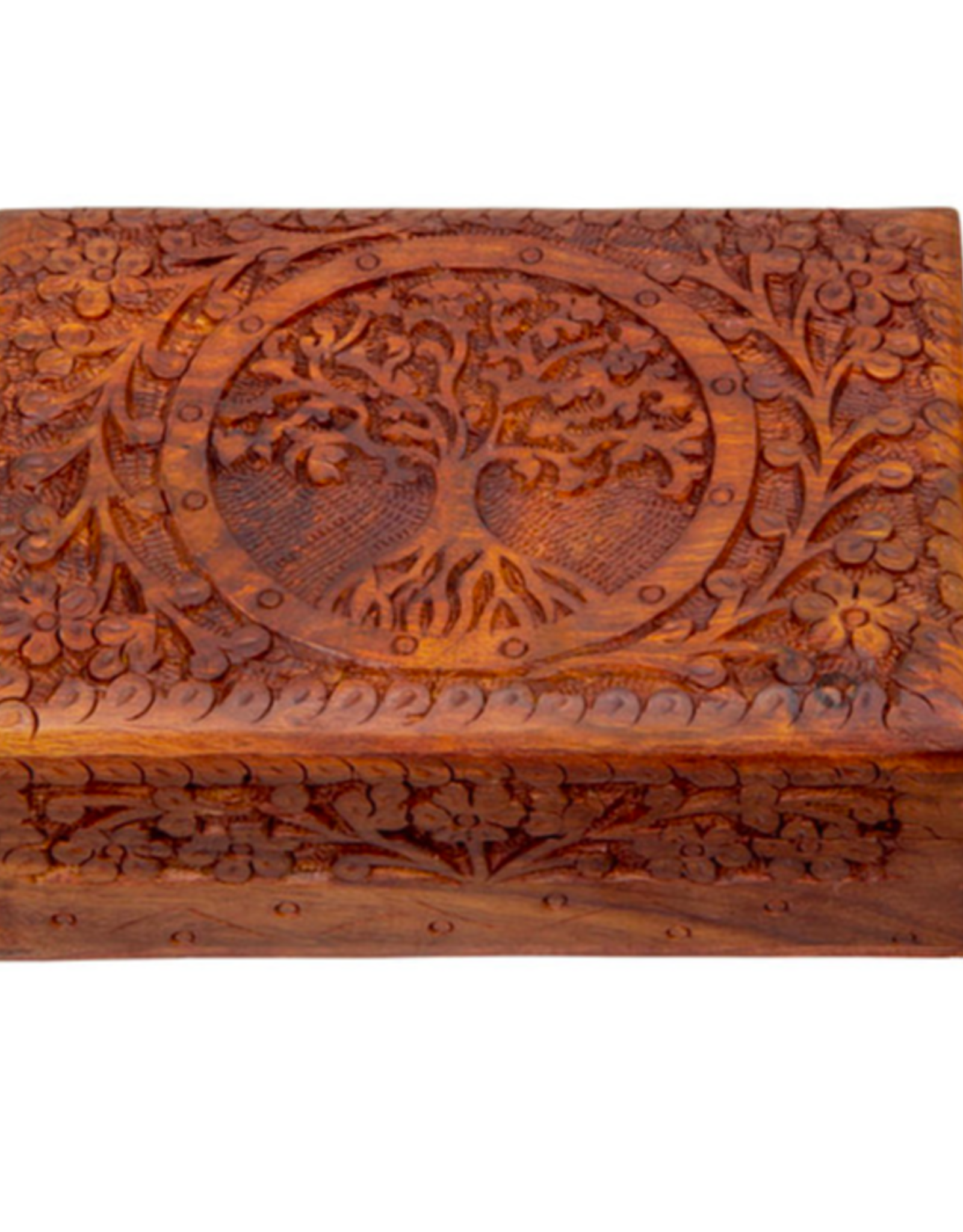 """New Age Imports, Inc. Tree of Life Carved Wood Box 5x7"""""""