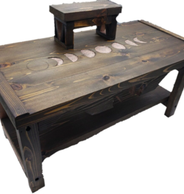*Lotus of the Moon *Moon Phases Pedestal Altar Table with Shelf - Dark Walnut and Gold