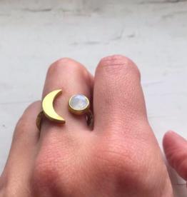 Yugen Handmade Moon Goddess Crescent Ring with Rainbow Moonstone-GoldTone