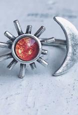 Yugen Handmade Sun and Moon Ring-Silver tone