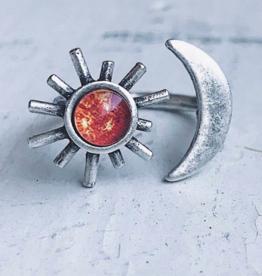 Yugen Handmade *Sun and Moon Ring-Silver tone