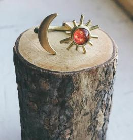 Yugen Handmade *Sun and Moon Ring-Gold tone