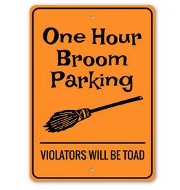 Lizton Sign Shop Broom Parking Halloween Sign - 10x14 inches