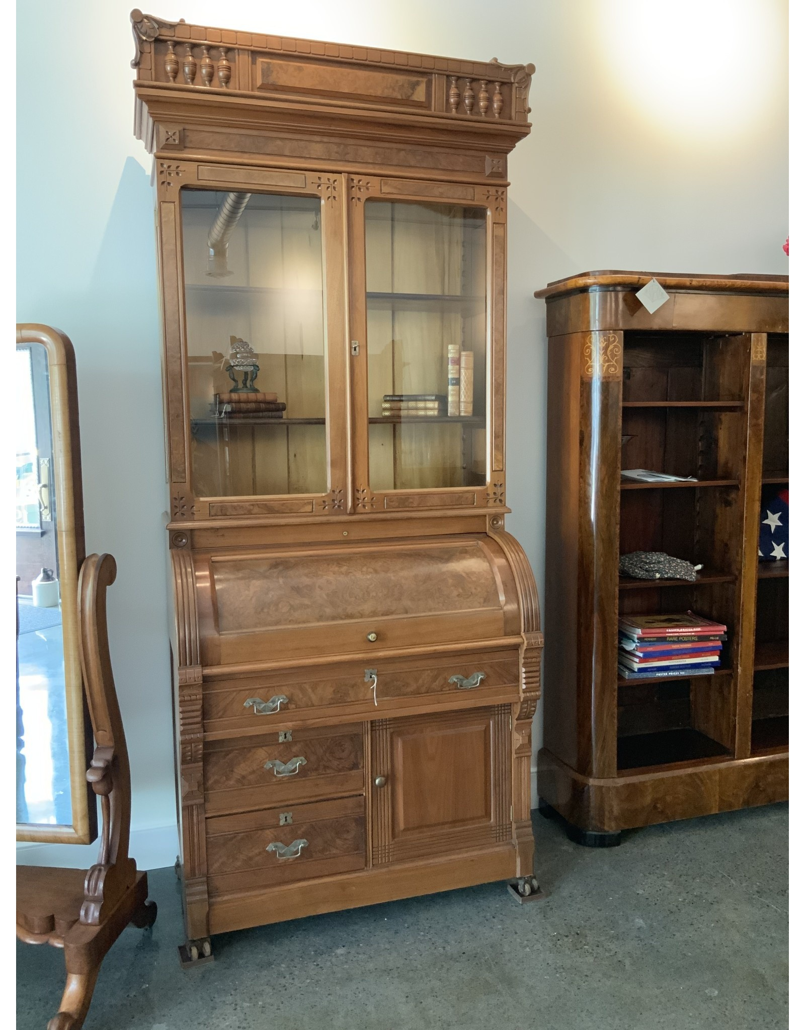 SPV Victorian Eastlake 1885 cylinder roll top secretary desk and bookcase