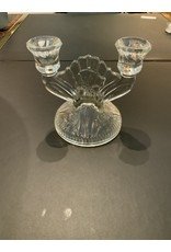 SPV Vintage Iris and Herringbone Double Candlestick by Jeannette Glass Co.
